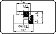 Adaptor - NPT metal female thread+hexag