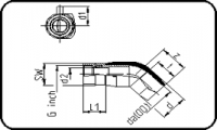 E-Adaptor Elbow 45° - Steel - Female Thread